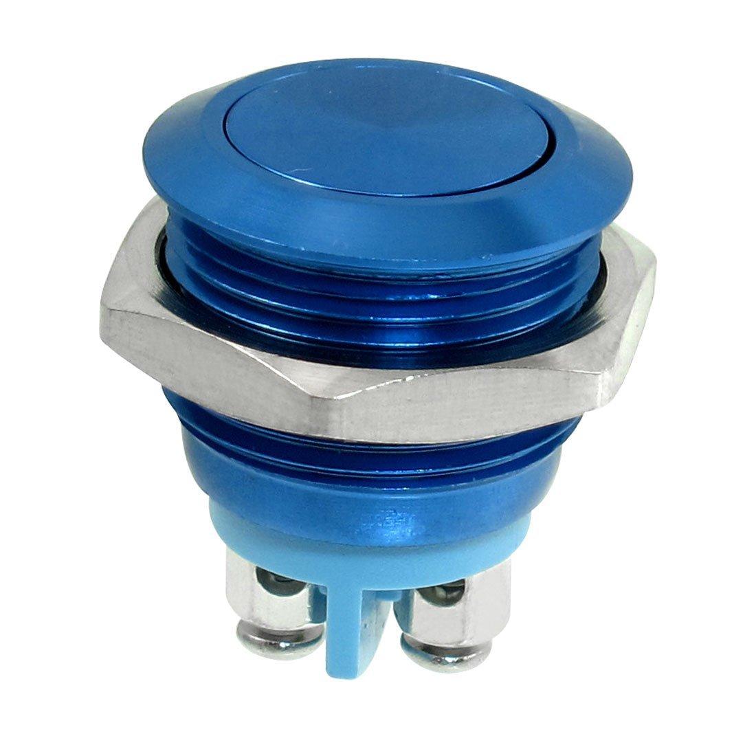 SODIAL(R) 16mm Encastre Momentane SPST Bleu Acier inoxydable ronde Commutateur de bouton poussoir