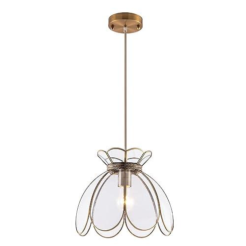 YIFI Pendant Light Brass Vintage Glass Lotus Flower Ceiling Pendant  Lighting Fixture for Kitchen Island Dining - Antique Chandeliers: Amazon.com