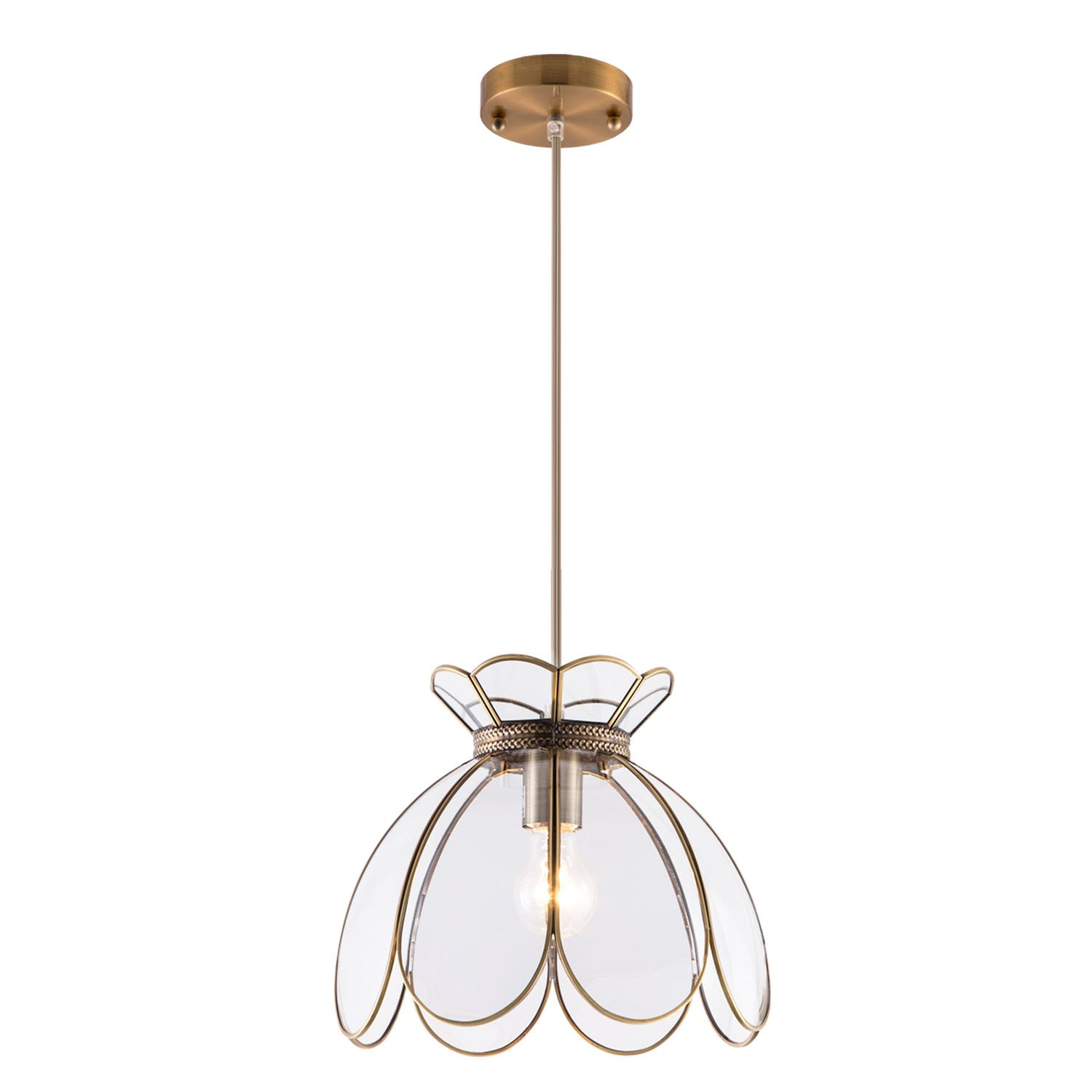 YIFI Vintage Lotus Flower One Light Pendant Lighting in Bronze and Glass Oriental Mini Chandeliers Antique Brass Ceiling Light Fixture for Kitchen Island Dining Room Bedroom Living Room, Clear by YIFI (Image #1)