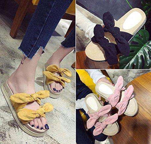 Dimensione Yellow e infradito Color piatte plateau Ciabatte donna da 4 estivi con 40 Ciabatte Sandali colori Yellow qxFBw6