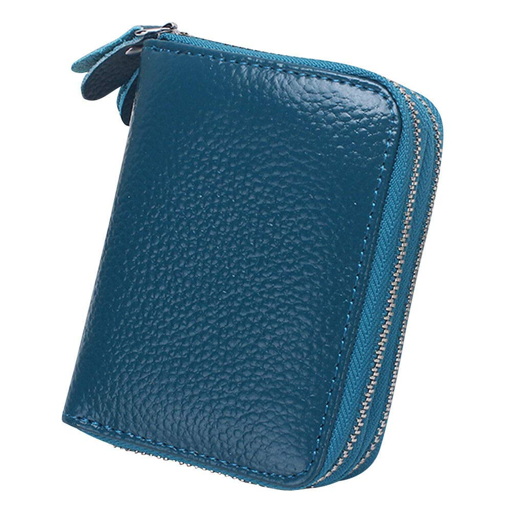 Classic PU Leather Womens Men Credit//ID Card Zipper Purse Wallets Coin Handbag Colour - Blue