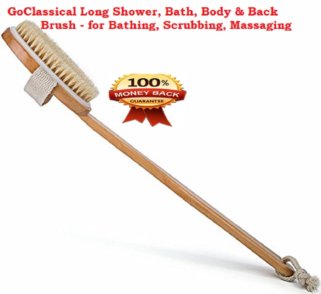 Best Long (17) Bath & Relax Back and Body Scrubber Bath Brush - Natural Long Beachwood Handle With Curved Luxurious Bristle Fibers - 17 inch long. Excellent for Soothing Skin cleansing, dry brushig GoClassical