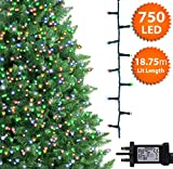 Christmas Tree Lights Multicoloured 750 LED 18.75 m Indoor/Outdoor Christmas Lights Decorations Fairy String Lights Memory Timer Mains Powered 61 ft Lit Length 10m /32 ft Lead Wire Green Cable