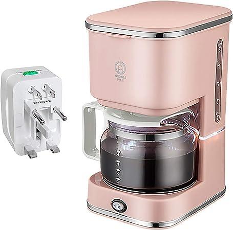 Gosear - Cafetera eléctrica totalmente automática de 750 ml, 5 tazas, con adaptador de cargador universal para cafetería, restaurante en casa (rosa): Amazon.es: Hogar