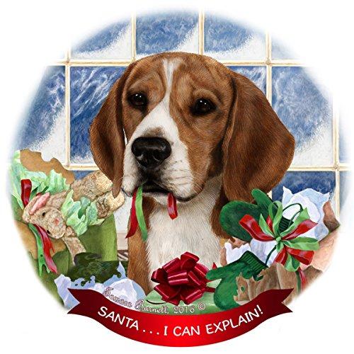 Beagle Dog Porcelain Hanging Ornament Pet Gift 'Santa.. I Can - Christmas Beagle Stocking