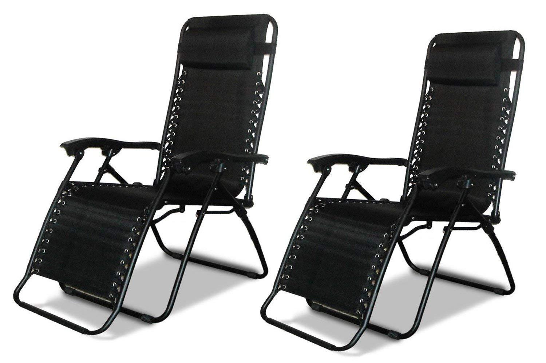 LIVIVO Black Gravity Textoline Chair Table Set Garden Reclining Recliner Lounger Furniture Neat Tidy Beautiful Contemporary Outdoor Living Garden