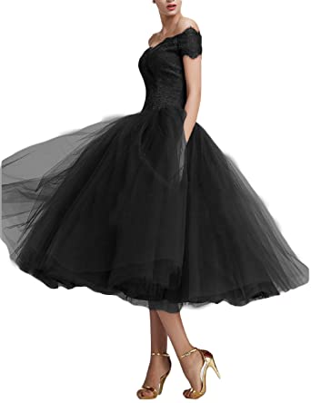 Fnina Womenss Tea Length Tulle Prom Dresses Formal Gown Size 2 Black