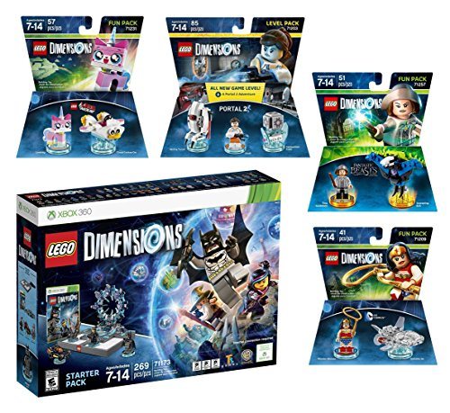 Lego Dimensions All Girls Power Starter Pack + Fantastic Beasts Tina Goldstein + Portal 2 Level Pack + The Lego Movie Unikitty + Wonder Woman Fun Packs for Xbox 360 Console by WB Lego