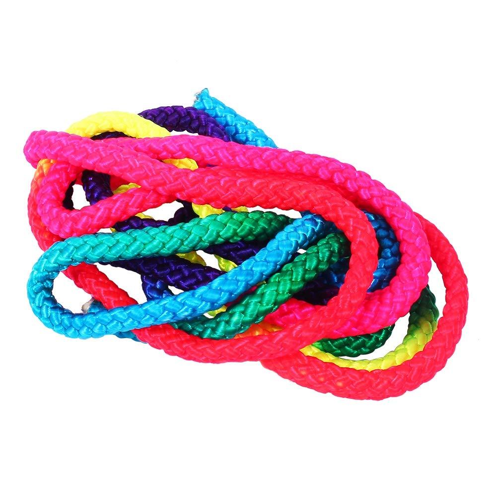 Keenso Regenbogen-Gymnastikseil 2.8m Regenbogenfarbe Rhythmische Gymnastikseil Solides Wettkampfkunst-Trainingsseil