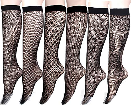 Women's Stay Up Knee High Patterned Trouser Socks Fishnet Stockings Black 6 Pairs (6pairs-G)