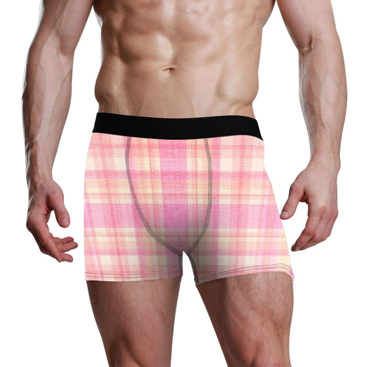 Mens Red Buffalo Plaid Athletic Underwear Cotton Stretch Boxer Brief