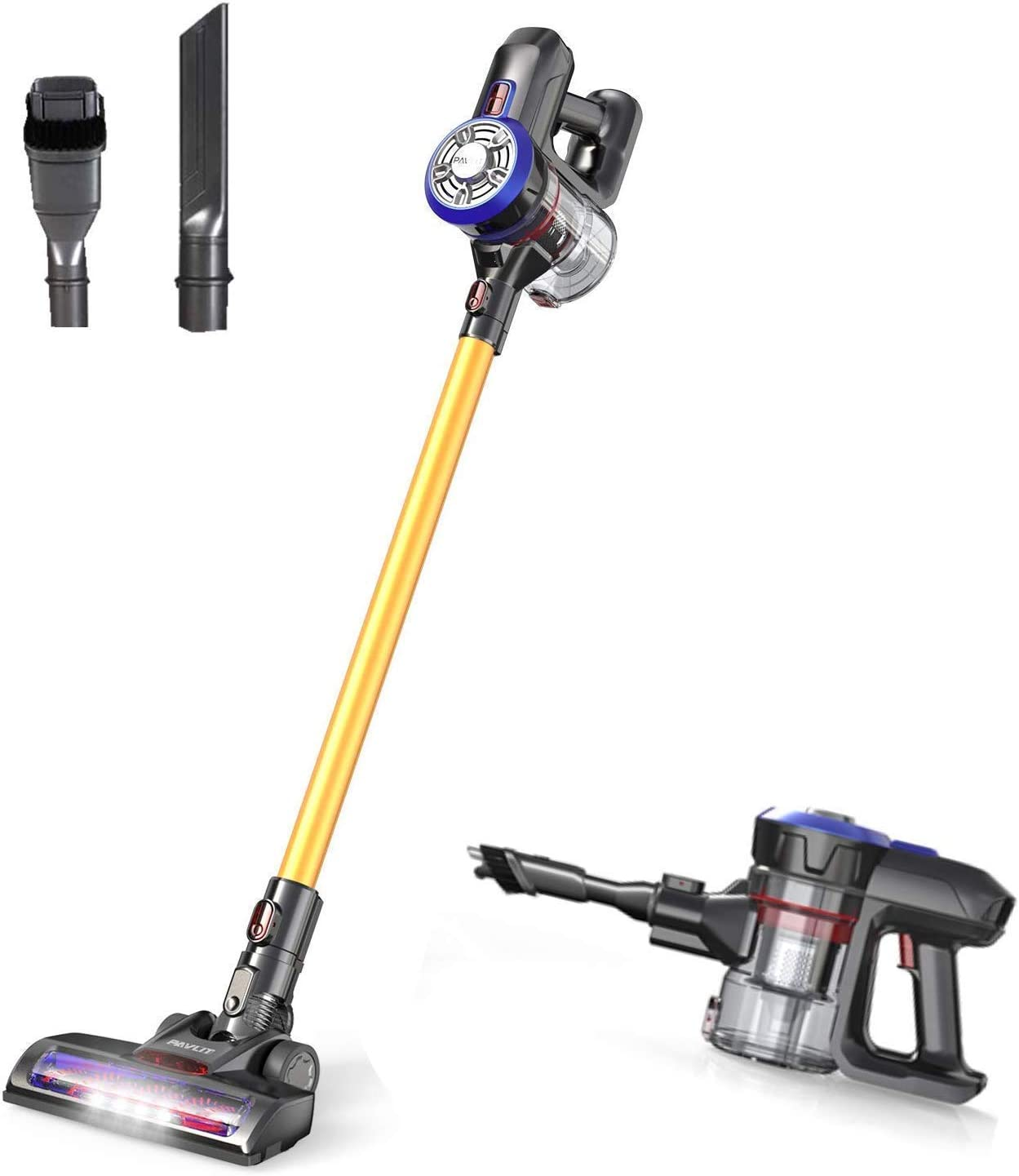 PAVLIT Cordless Vacuum Cleaner 12000pa Powerful Suction, 4 in 1 Handheld Stick Vacuum Cleaners, Lightweight and Rechargeable Battery, LED Headlights