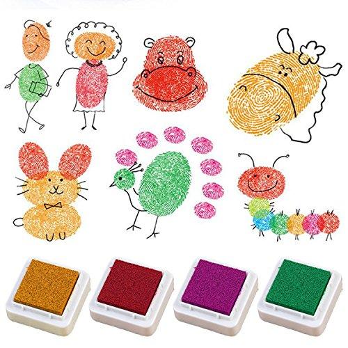 BEETEST Tinta para Huellas 24 PCS 24 colores artesanales tinta Pad ...