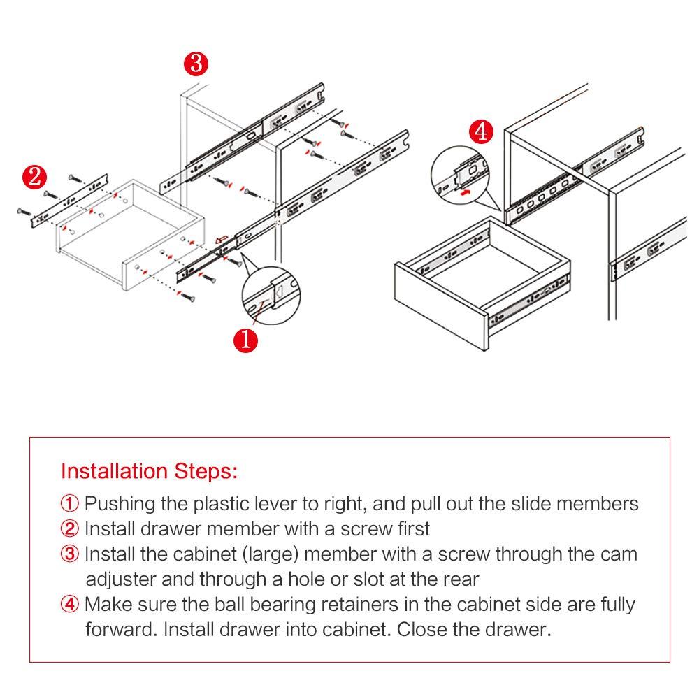 Bokaiya 10 Inch Drawer Slides 5 Pair 3 Fold Side Mount