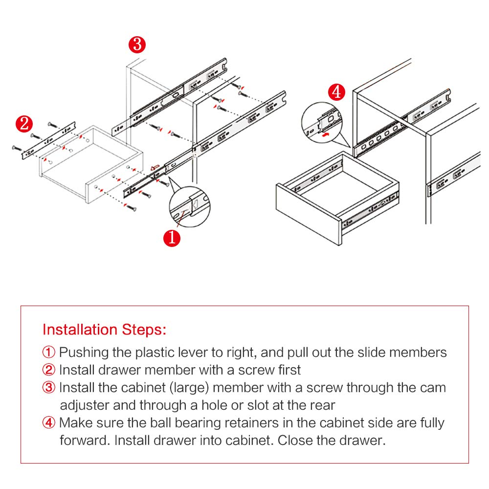 Bokaiya 5 Pair of 18 Inch Full Extension Side Mount Ball Bearing Sliding Drawer Slides, Available In 10'', 12'', 14'', 16'', 18'' and 20'' Lengths by Bokaiya (Image #8)