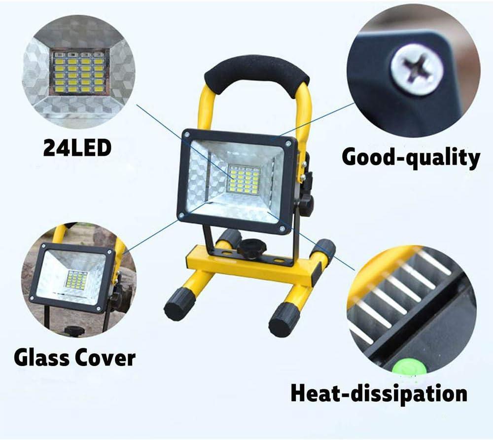 Lampe de Chantier Rechargeable Portable 30W 2000 LM Projecteur LED Chantier sans Fil pour Travaux dAtelier 3X 18650 Batterie Projecteur LED Chantier Jardin Garage Terrasse