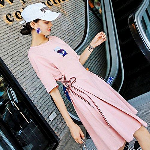 YaNanHome Jupes Jupes Fes Pink Pink Size Midi Robes M Nouveau Mince Et Robes Color Style Femmes rrYq18