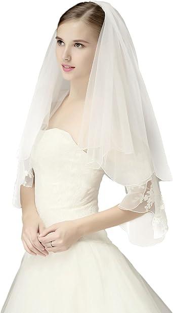 Double Layer Wedding Veil White Or Ivory Tulle Veil Simple Wedding Veil Pencil Edge Veil Short Bridal Veil