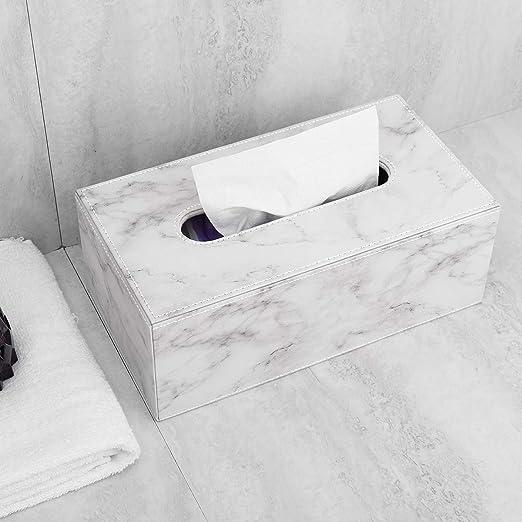 Salle de Bain Marbre Blanc Chambre Bureau Voiture Distributeur de Mouchoir en PU Cuir Coiffeuses Luxspire Bo/îte /à Mouchoirs Moderne Cubique D/écoration Id/éale pour Dessus de Table