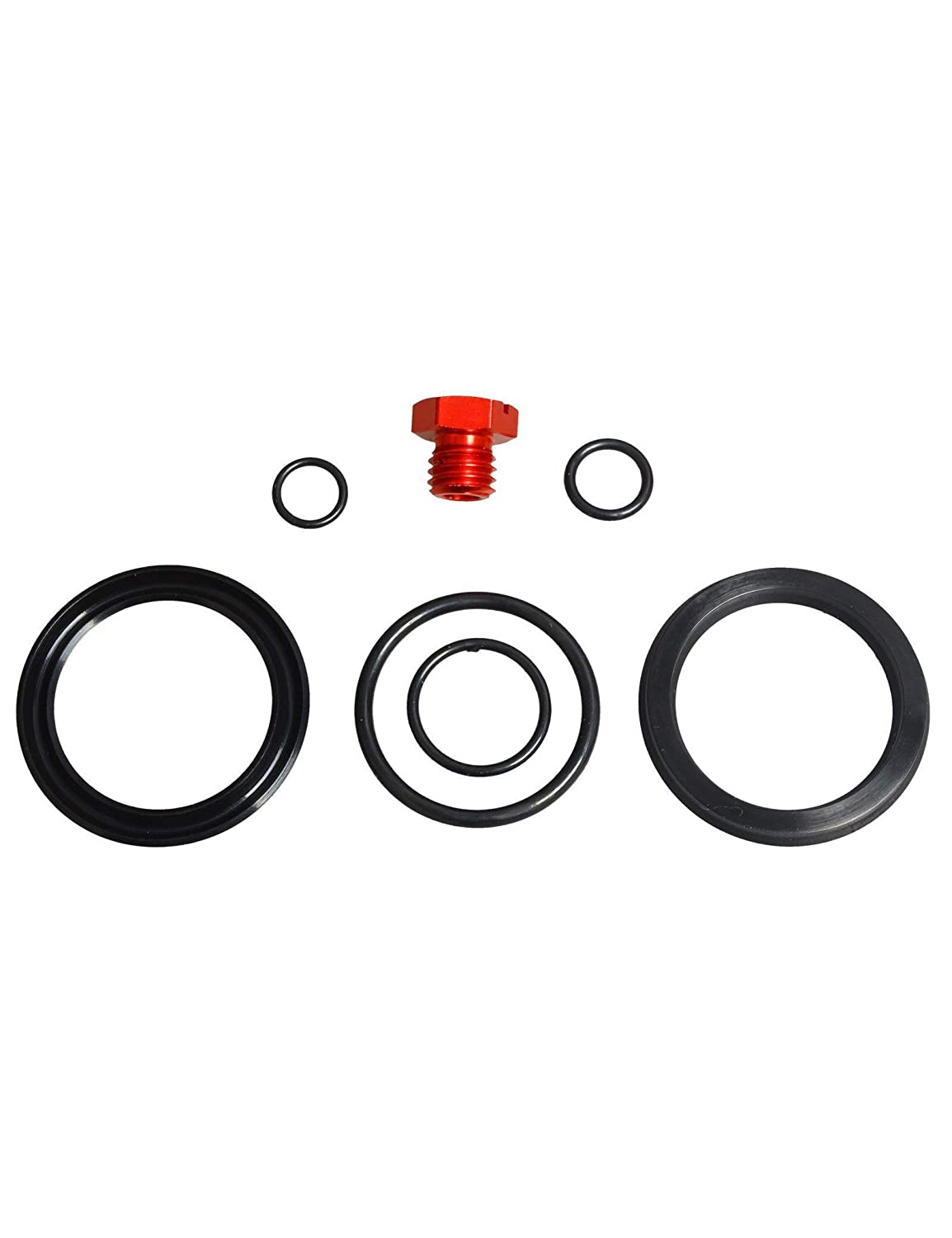 Red Fuel Filter Adapter Spacer Plate Bolts Bleeder Seal Viton O-Rings Kit Fit 2001-2016 Chevy 6.6L