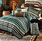 Southwest Dreams Turquoise Native American Queen Comforter, 2 Shams, 3 ...