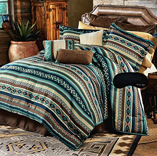 Southwest Dreams Turquoise Native American Queen Comforter, 2 Shams, 3 Decorative Pillows, 1 Bedskirt + Home Style Brand Sleep Mask Southwestern Lodge Cabin (8 Pc. Bedding Bundle)
