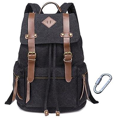 b58f4a6082 Codyna Canvas Backpack with Carabiner   Large Vintage Rucksack   Travel  Daypack for Women Men (