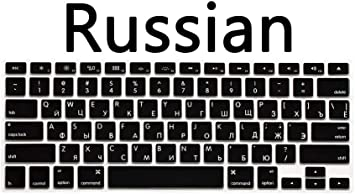 Us Version Russian Keyboard Silicone Skin Cover for MacBook Air Pro 13 15-Black