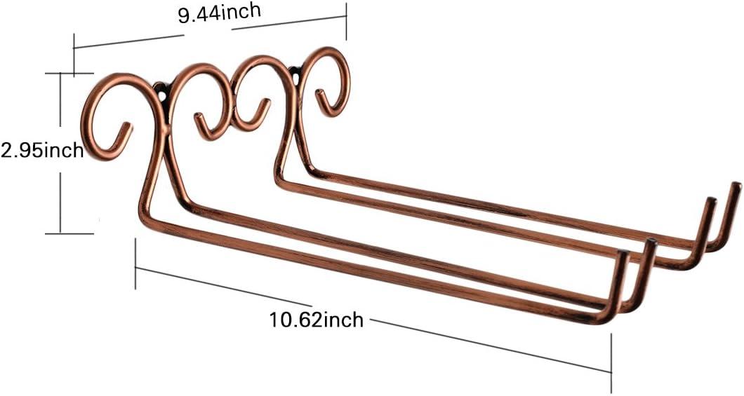 Rack Mural en Acier Inoxydable Etag/ère Rangement de Verre Giplar 2 Row Porte Verres /à Pied Suspendu Bronze