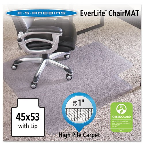 ES Robbins EverLife Anchor Bar Lipped Vinyl Chair Mat for High Pile Carpet, 45 by 53-Inch, Clear 124154 60170
