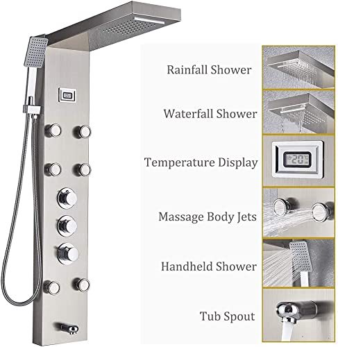 Rozin Brushed Nickel 5-Function Shower Panel Thermostatic Mixer Control Waterfall Rain Shower Faucet Body Massage Jets with Hand Spray