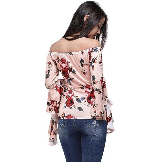 Camisetas hombro descubierto mujer, VENMO Las Mujeres de Flores de Hombro Impresa Larga Llamarada Manga casual Tops Blusa: Amazon.es: Ropa y accesorios
