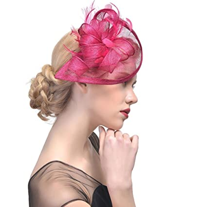 9efb8b338f2 Amazon.com  Sinamay Feather Fascinators Womens Pillbox Flower Derby Hat for  Cocktail Ball Wedding Church Tea Party (Hot Pink)  Home Audio   Theater
