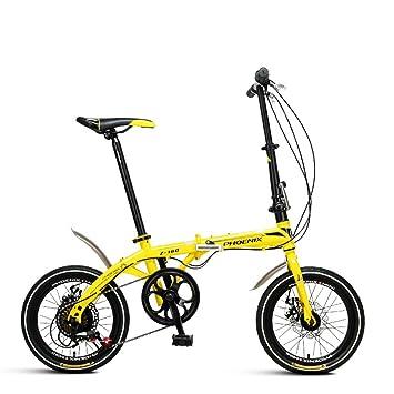 XQ Z160 Bicicleta Plegable Velocidad Variable 16 Pulgadas Adulto Bicicleta Portátil (Color : Amarillo)
