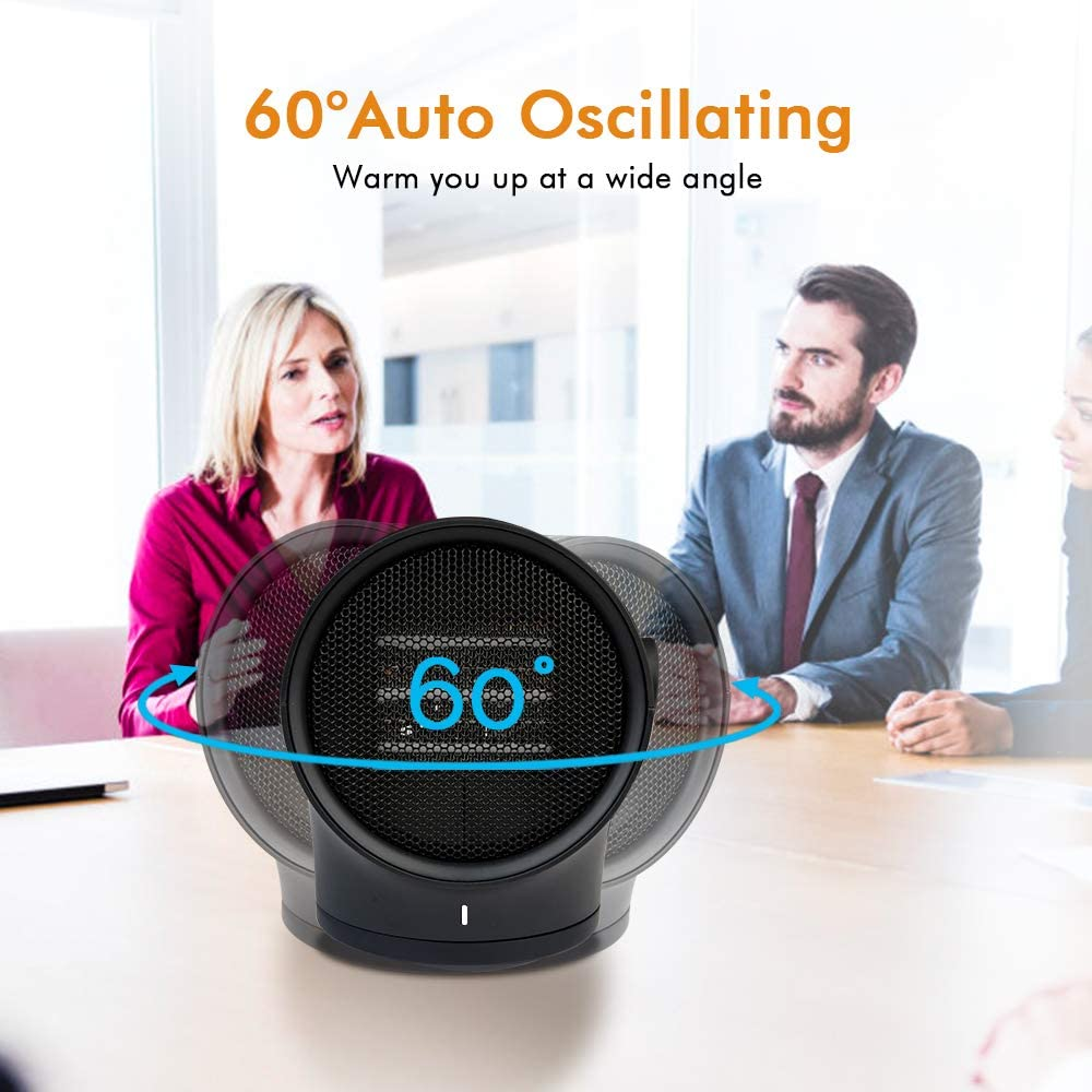 Prepare Ceramic Space Heater Adjustable Thermostat with 3 Modes for Home Office Bedroom Bathroom Living Room Dr 1000W Portable Electric Oscillating Fan Heater with Tip-over /& Over-Heat Protection