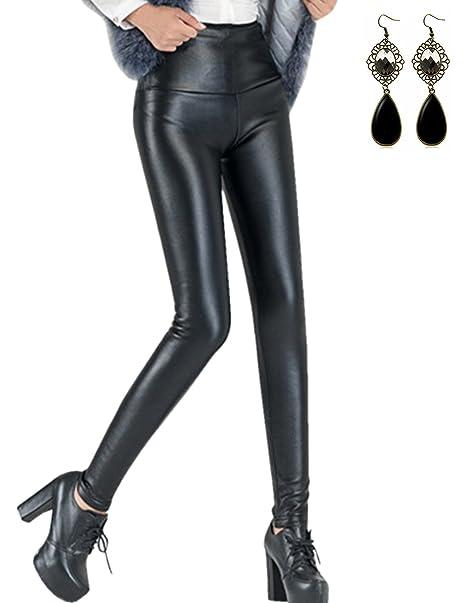 30d673b36c Sitengle Mujer PU Cuero Leggings Skinny Elásticos Treggings Pantalones  Cintura Alta Leggins Pantalon  Amazon.es  Ropa y accesorios
