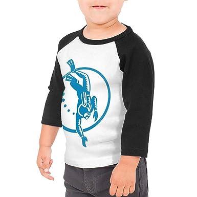 Yimo Scuba Diver Diving Retro Unisex Toddler Baseball Jersey Contrast 3//4 Sleeves Tee