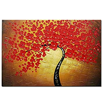 Wieco Art   Red Flowers Modern Floral 100% Hand Painted Oil Paintings  Artwork On Stretched