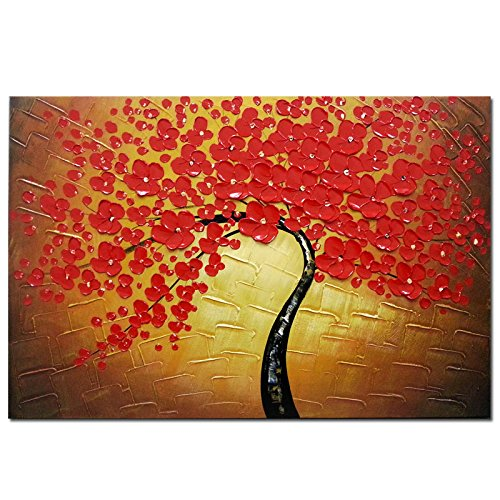 Wieco Art Red Flowers Oil Paintings Reproduction on Canvas Wall Art Ready to Hang for Bedroom Kitchen Home Decoration Large Modern 100% Hand Painted Stretched and Framed Pretty Abstract Floral Artwork by Wieco Art