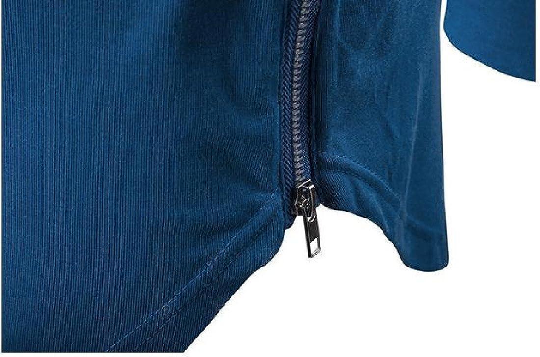 Sheng Xi Mens Irregular Hem Hooded Hoodie Pure Color Long Sleeve Coat