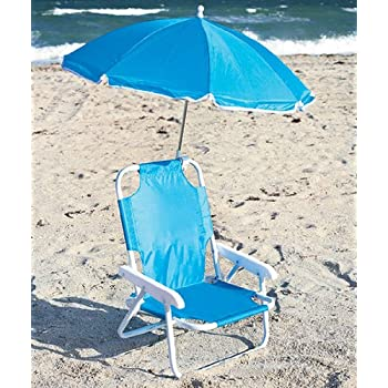Kidsu0027 Beach Chair with Adjustable Umbrella - Blue  sc 1 st  Amazon.com & Amazon.com: Kidsu0027 Beach Chair with Adjustable Umbrella - Blue ...