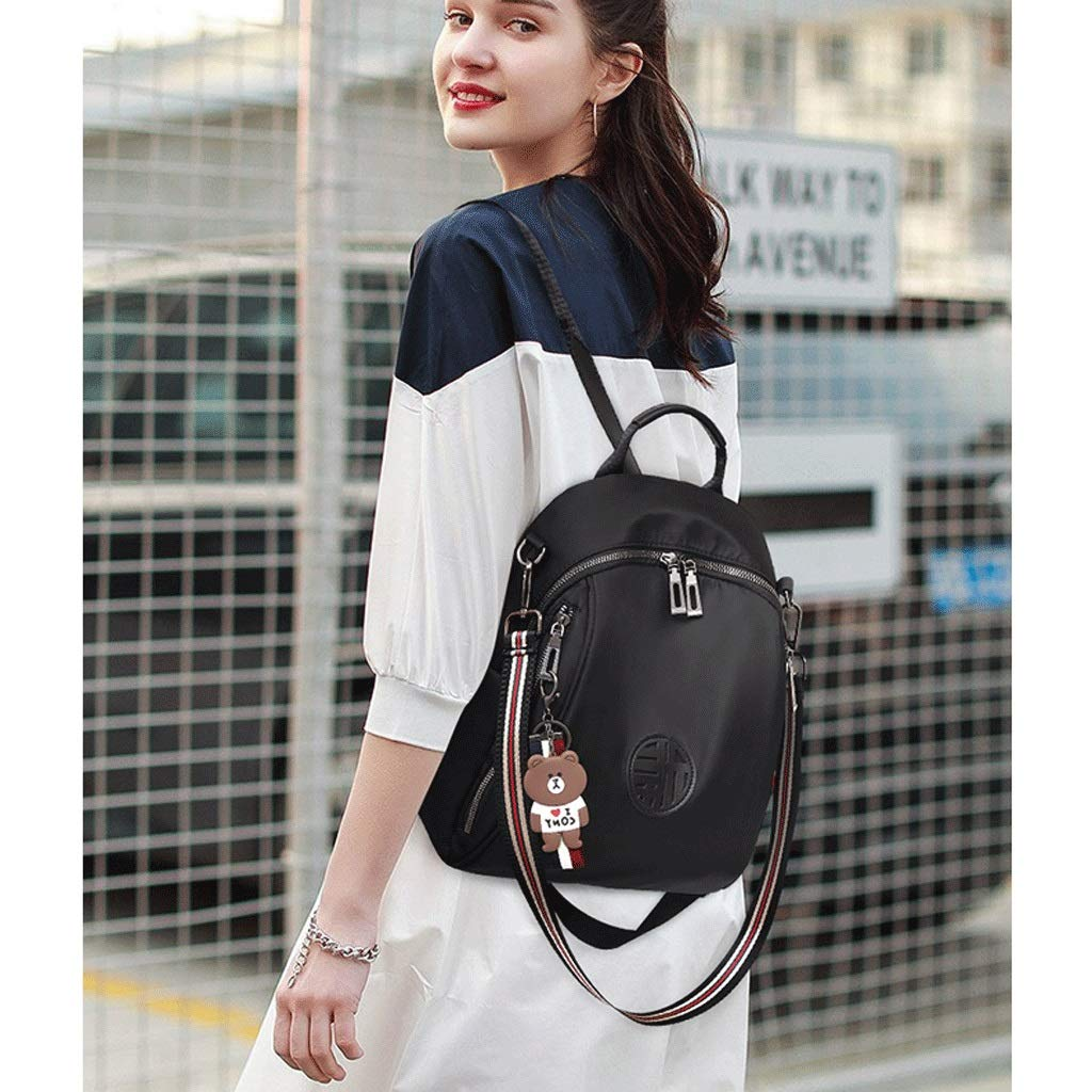 Backpack LCSHAN Shoulders Unisex Fashion Wild Casual Travel Oxford Cloth Color : Black