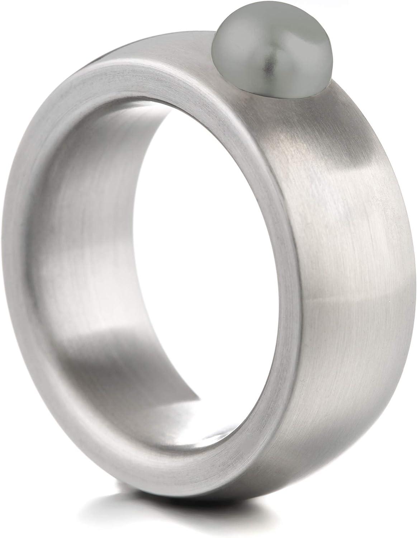 Anillo Heideman Ring Ladies Coma 8 Acero Inoxidable Color Plata Mate para Damas con Cuentas Swarovski Blanco Gris o Negro cabujón Tallado en Piedra Preciosa 6mm