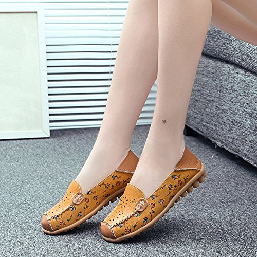 T-JULY Womens Moccasin Shoes Casual Slip On Anti Slip Round Toe Loafer Flat Yellow AecrBBzmg