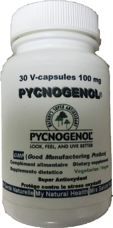 PYCNOGENOL 100 mg (por cápsula) 30 cápsulas vegetales (dosificación para 1 mes) - extracto de corteza de pino marítimo que pousse sobre los estrías ...