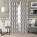 Elrene Home Fashions Room Darkening Grommet Linen Single Window Curtain Drape, 52″x84″ (1 panel), Gray
