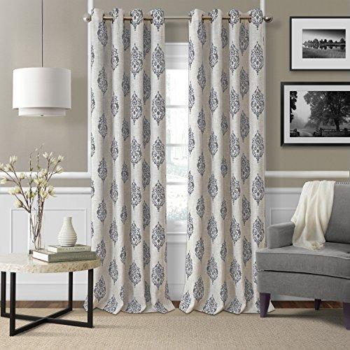 Linen Window Panel - Elrene Home Fashions Room Darkening Grommet Linen Single Panel Window Curtain Drape, 52