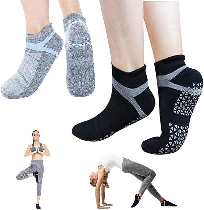 Non Slip Yoga Socks for Women, Anti-Skid Pilates, Socks with Grips, Size 5-10