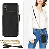 iPhone Xs Max Wallet Case, ZVE iPhone Xs Max Case with Credit Card Holder Slot Crossbody Chain Handbag Purse Wrist Zipper Strap Case Cover for Apple iPhone Xs Max 6.5 inch - Black