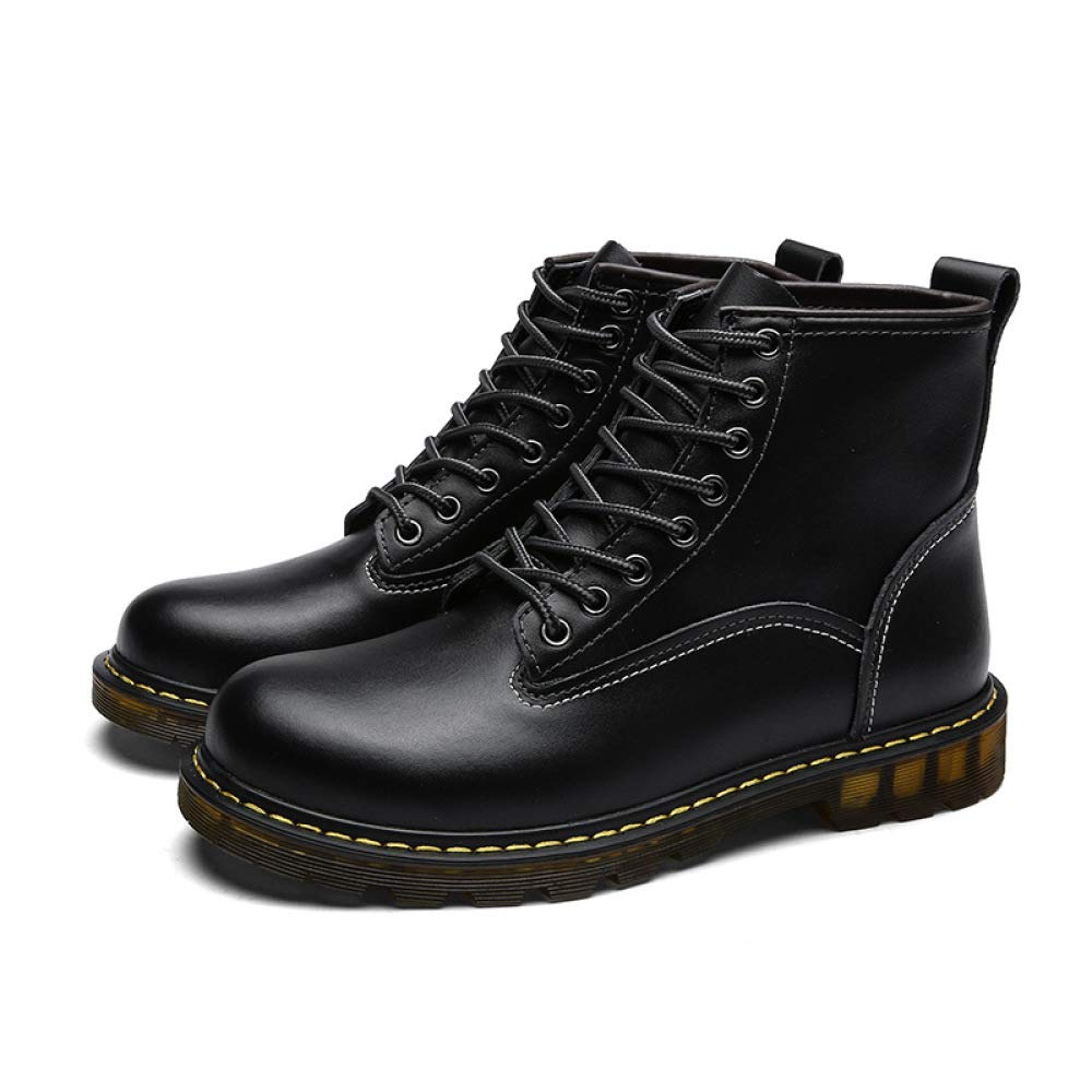 DZX Winter Männer Frauen Outdoor Casual Casual Casual Leder Schuhe Britischen Stil Lace Up Rutschfeste Luxuriöse Leder Martin Stiefel-für Arbeit Und Gehen,schwarz-37 db657d